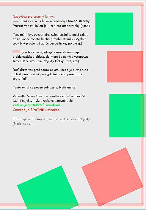 Doporučené usazení objektů na stránce vzhledem k okraji stránek