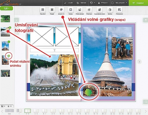 Vkládání obrázků a volné grafiky z knihovny SCRAPBOOK